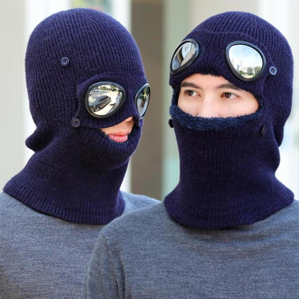 Winter Beanies Hats Scarf For Mens Knitted Warm Windproof Mask With Goggles Ski Cap
