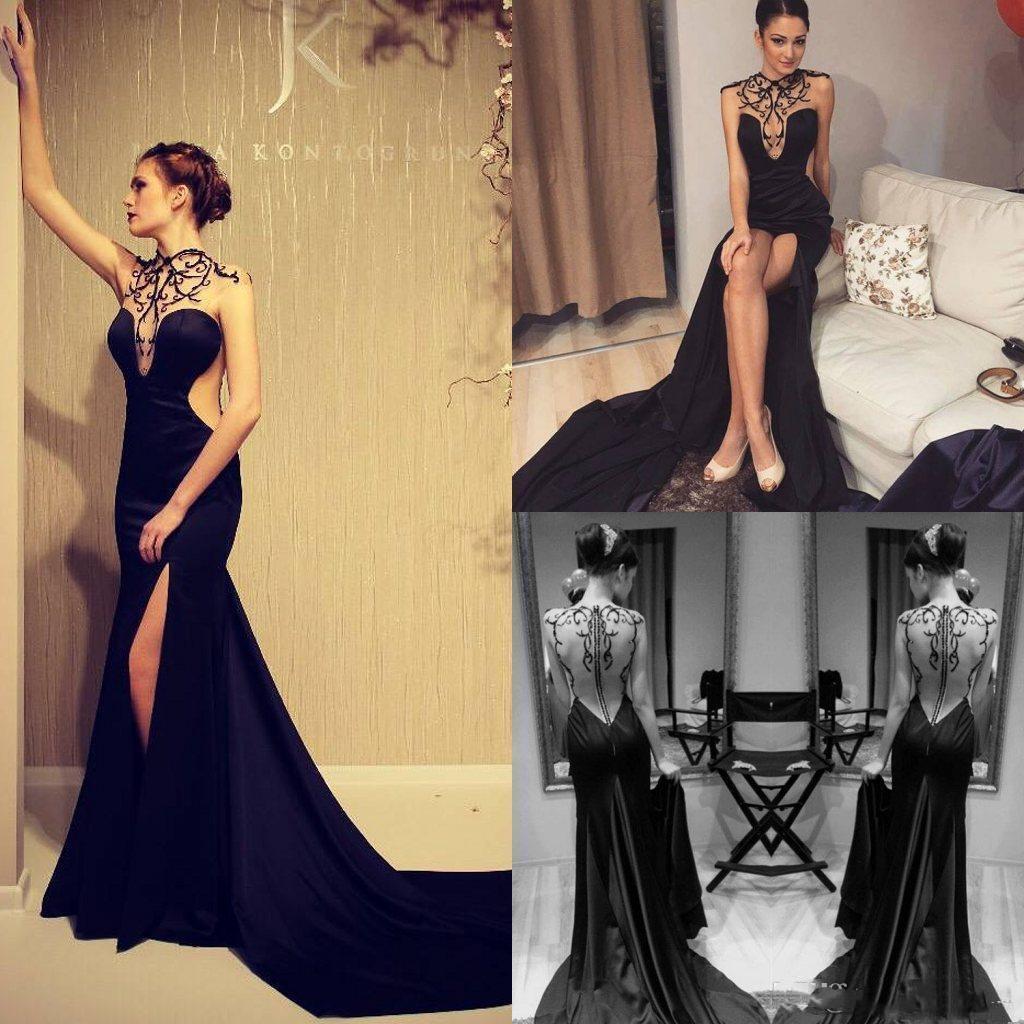 Sexy Sirena Black 2021 Vestidos de noche Ilusión Cuello Casquillo Manga Vestidos de baile Pero ver a través del vestido de bola de fiesta de cócteles dividido Envío gratis