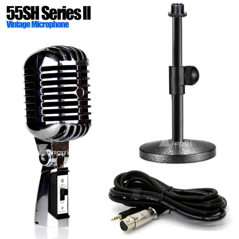 Metal Masaüstü 3.5mm Jack Kablolu Mic Tutucu Profesyonel Klasik Dinamik Vintage Mikrofon Standı Retro Stil Mike 55sh Series ll