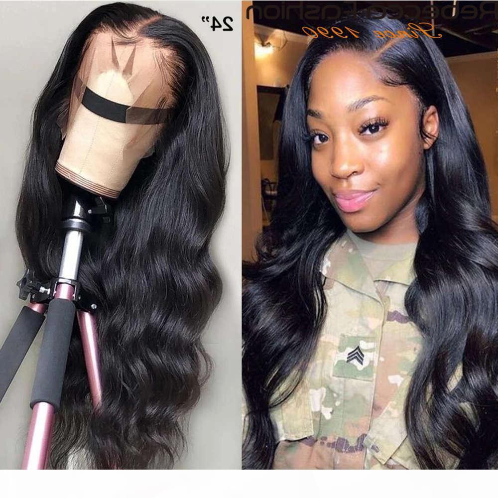 Rebecca 180% 360 Wave corporelle Humain frontal avec les cheveux de bébé Pous de perruque avant pincée de la dentelle brésilienne pour femmes 30inch