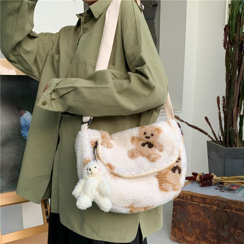 Frauen Plüsch Crossbody Tasche Nette Bär Designer Umhängetaschen Lamm wie Tuch Stoff Geldbörse Weiche Leinwand Japan Stil Handtasche Für Mädchen