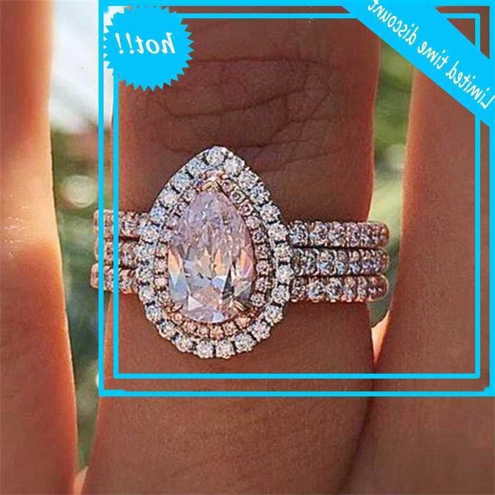 Nouvelle poire cristalline en poudre incrustée en forme de goutte d'eau, anneau de fiançailles pour femmes créatives à trois couches