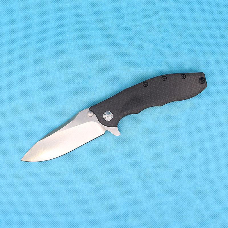 Couteau de pliage à flipper haut de gamme 0562cf D2 Drop Drop Point Pierre Lave-lame Fibre de carbone + TC4 Poignée Titanium Poignée de bille Couteaux de dossier