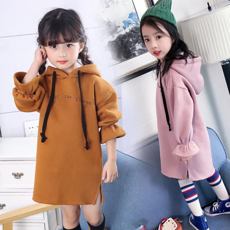Альский кролик осенью и зима новая девочка мода твердая длинная толстовка платье девушки причинно-следственная одежда 129 q2