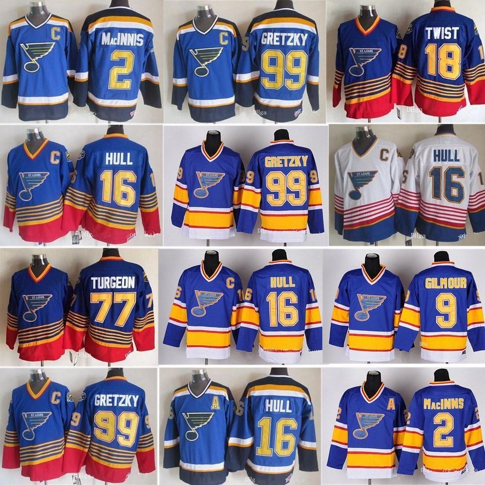 ST Louis Blues Jerseys Хоккей Урожай Урожай 16 BRETT HULL 99 Уэйн Грецкий 2 AL Macinnis 9 Shayne Corson 9 Doug Gilmour Blue White Tribersys