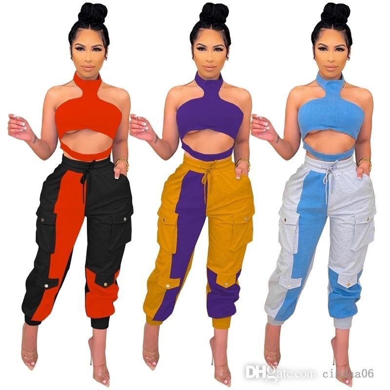 Seksi Kadın Eşofman Asılı Boyun Straplez Ekleme Kontrast İpli Üç Boyutlu Çanta 2 İki Parça Kıyafetler