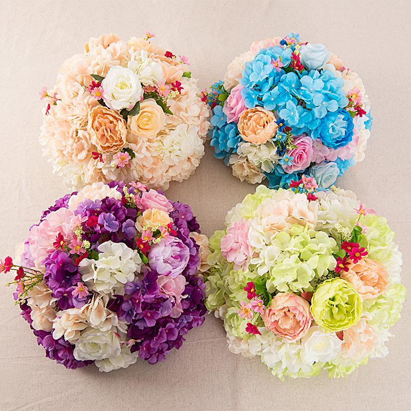 Fleurs décoratives couronnes artificielles Hydrangea pivoine fleur boule multicolore route plomb de mariage bouquet el fond mur décor de la fête