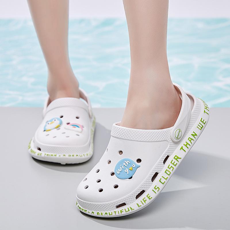 Women's Gelbe Croc Dame Mädchen Sommer Frauen Casual Gelee Schuhe aushöhlen Mesh Wohnungen Strand Sandalen 210225
