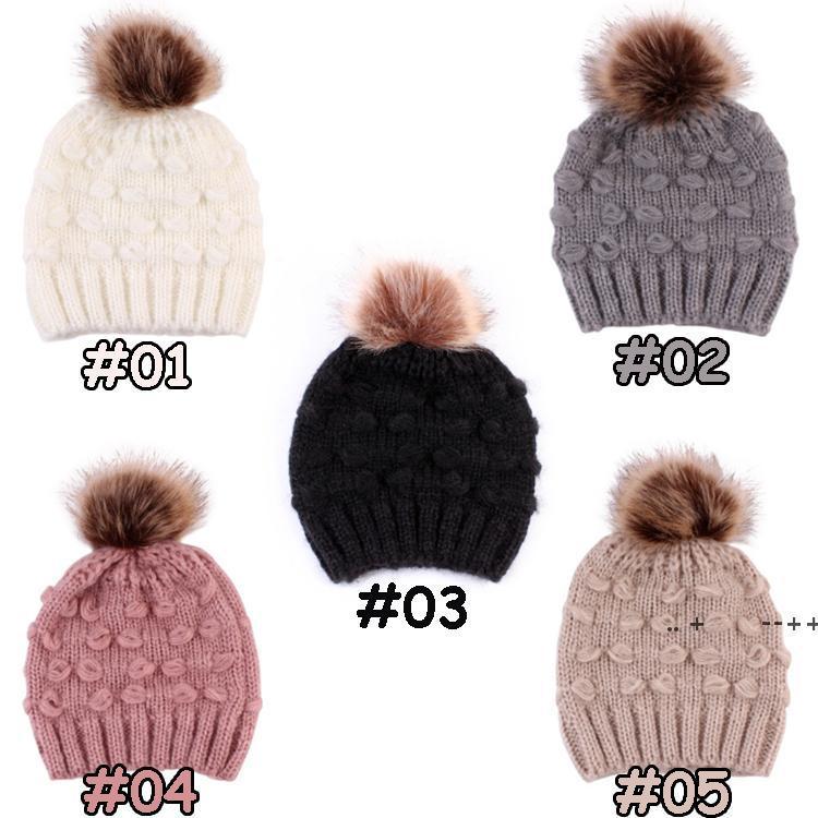 Милый малыш дети шапки 5 цветов девочек мальчик младенца зима теплая вязание крючком вязаная шапка шансы меховая шапка детская кепка зима оптом ewd10204