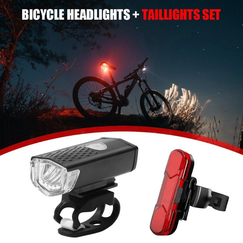300LM Bike Front Headlight Waterproof XPE Rear Taillight Bicycle Lights Biking Portable Dustproof Cycling Parts