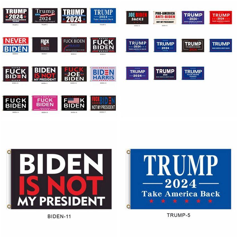 2024 Trump Flag Biden não é meu presidente 90 * 150 cm US presidencial bandeira 27 estilos Trump Bandeiras Banners Cyz2988 Transporte marítimo