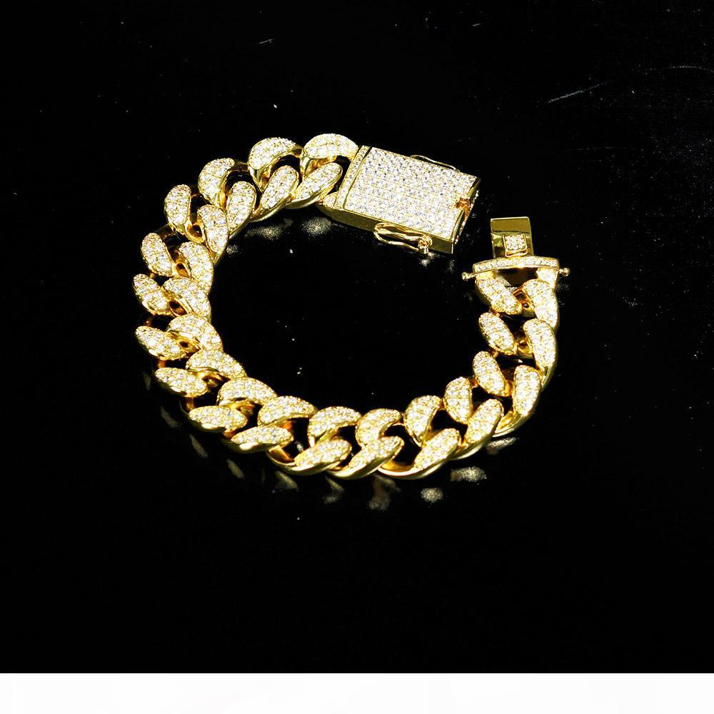 20mm Men's Zircon Cuban Link Bracelet Hip Hop Jewelry Gold Thick Heavy Copper Material Iced Out Cz Chain 7''-9''