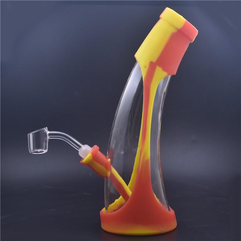 14,4 mm de verre de silicone bangs fumant DAB Huile plate-forme de 8,5 pouces de verre Bong DAB Planche à plate-forme tabouillis tabouillis avec 14.4mm Quartz Banger clou