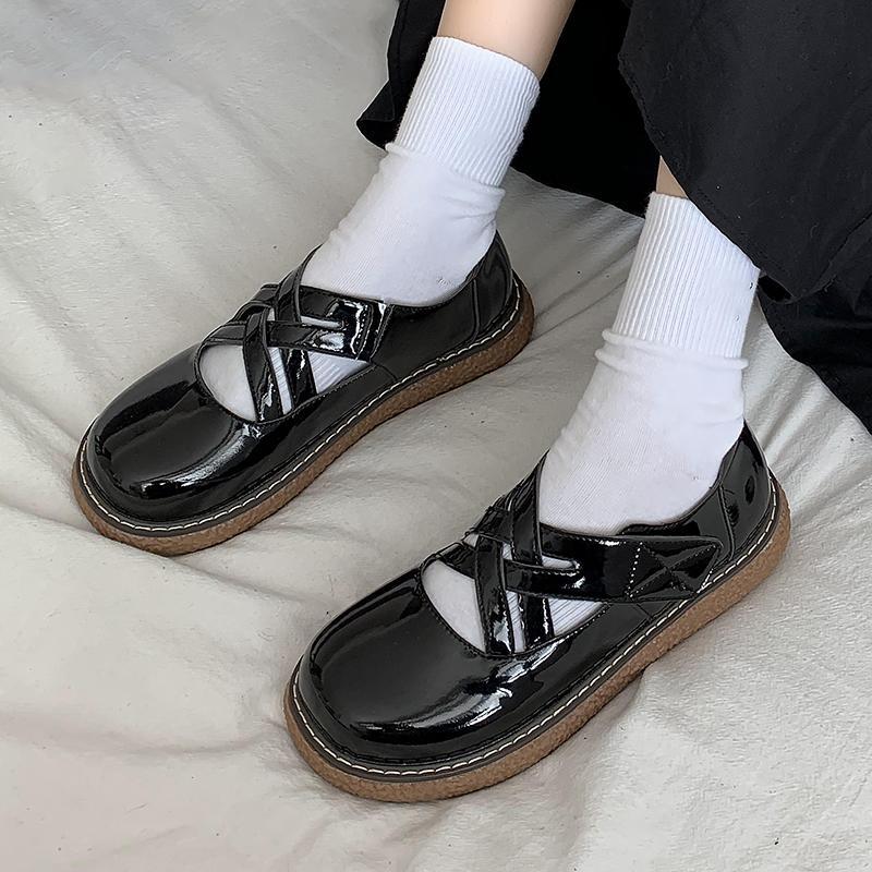 Bahar Lolita Ayakkabı Çapraz Bağlı Kadınlar Deri Rahat Ayakkabılar Siyah Platform Ayakkabı Kızlar Mary Janes Ayakkabı Yuvarlak Toe 9016n