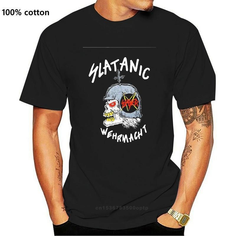 빈티지 슬레이어 Slatanic Wehrmacht 투어 남자 블랙 T 셔츠 티 S-3XL 티 브랜드 의류 재미 있은 티셔츠 탑 티