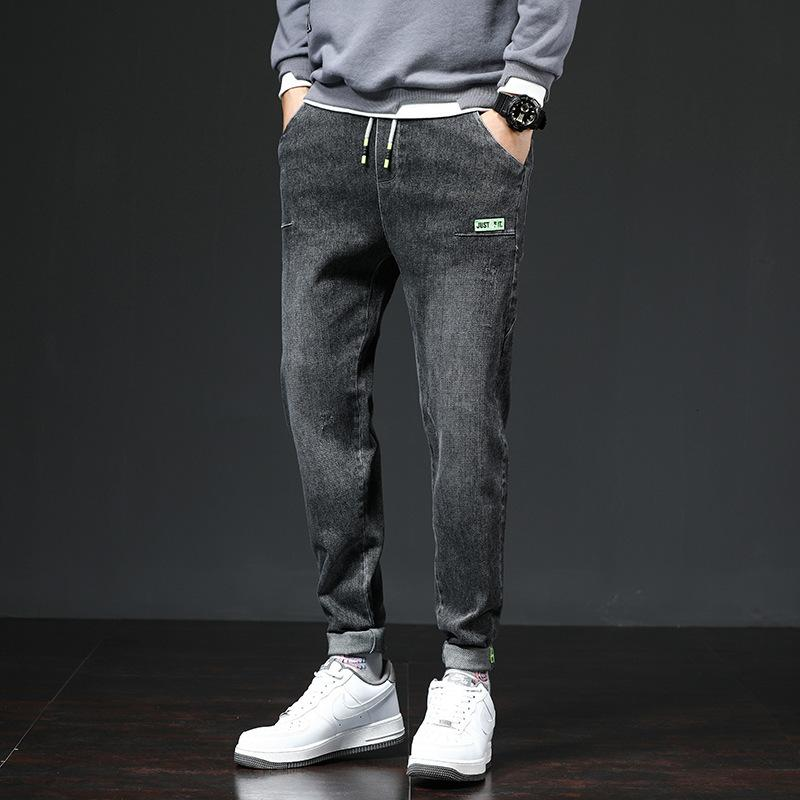 Осенью и зима новая талия мужские большие джинсы корейский тренд упругие универсальные штаны