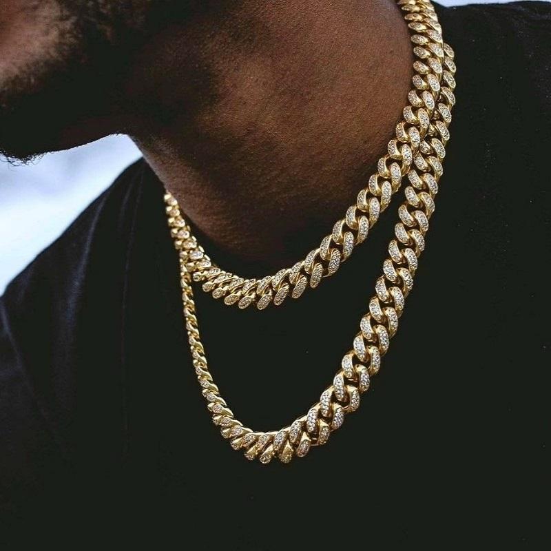Erkekler Buzlu Out Zincirleri Kolye Hip Hop Bling Zincirleri Takı Miami Küba Bağlantı Zincirleri Hip Hop Takı
