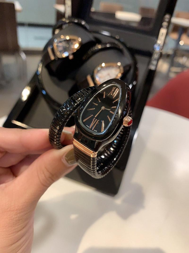 Mulheres relógios de quartzo Movimento Snake Smooth Watch relógio simples e elegante