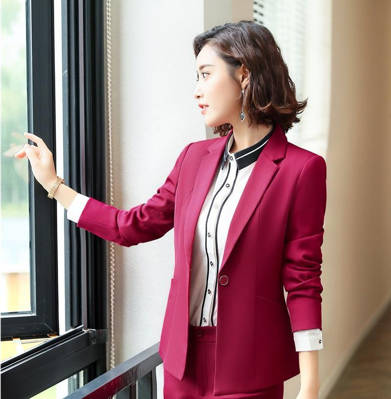 Women's Suits & Blazers Fashion Wine Formal And Jacket Coat For Women Business Work Wear Professional Ladies Blazer Outwear Tops Clothes