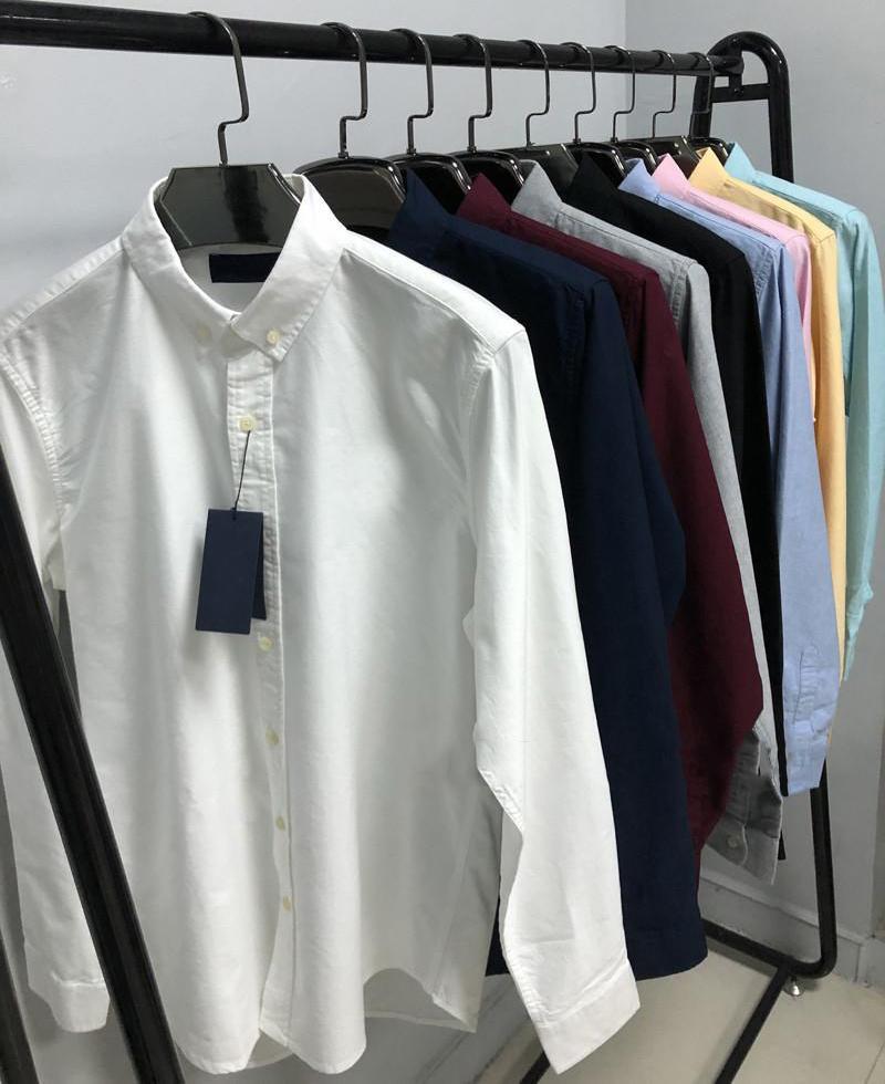 2021 Erkek Tasarımcı Moda Rahat Gömlek Erkekler Slim Fit Şerit Bayan Küçük At Adam Katı Renk 21ss İş Elbisesi Tee