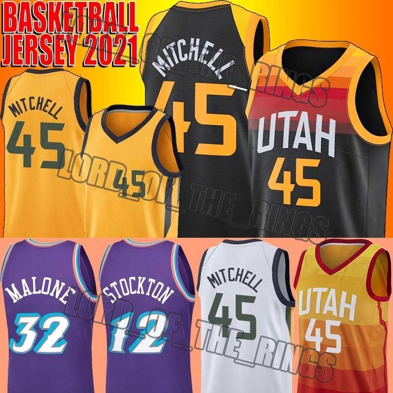 Donovan 45 Mitchell Jerseys Throwback John 12 Stockton Jersey Karl 32 Malone Basketball Jersey