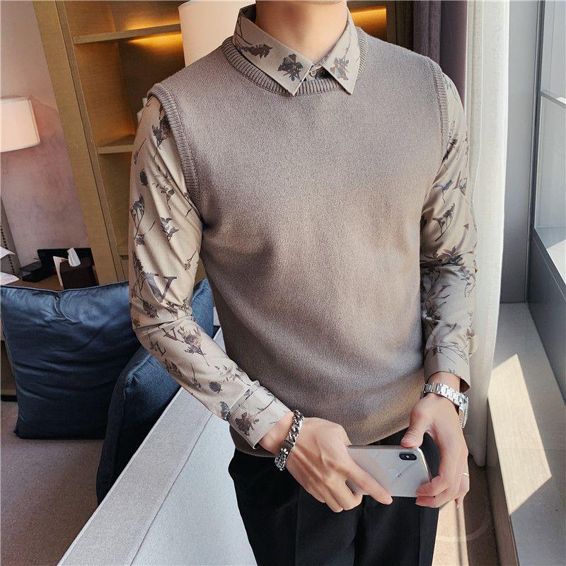 Caduta fitti maschio maglione fine fiore camicia collana falso due maglioni casual felpa a maglia a maglia o all'uncinetto 7b25