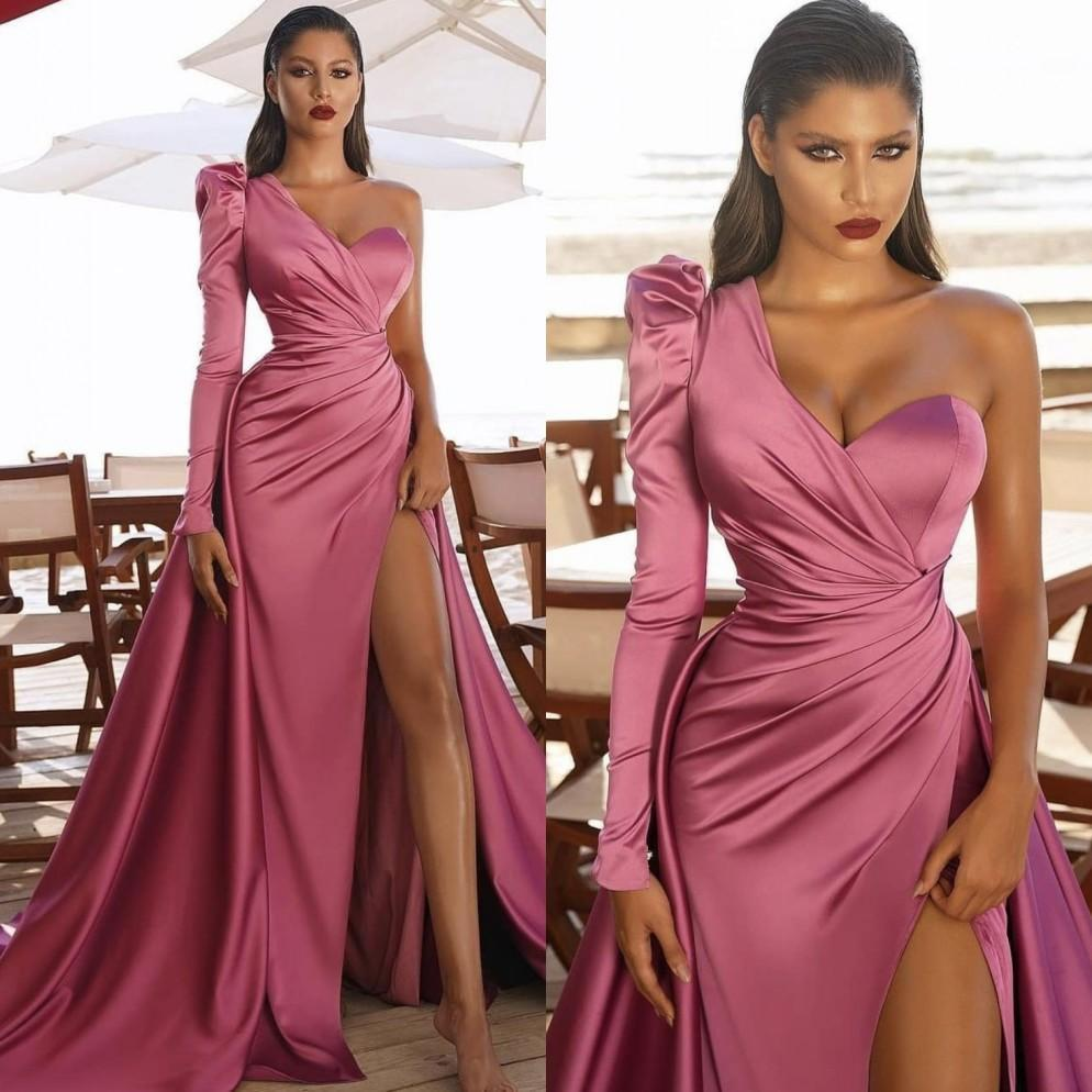 Nouvelle arrivée Rose Pink Sirène Pal Robes Dubaï Arabe Manches Longues Robe Formelle Côté High Split Celebrity Robe de Soirée Earre de soirée