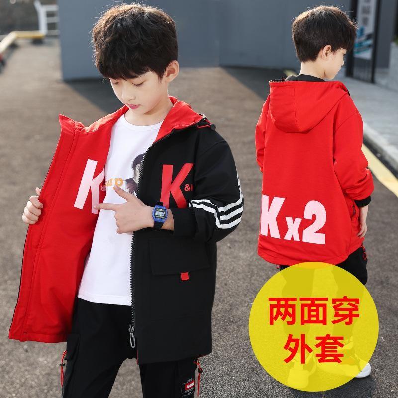 Kinderbekleidung Jungen Frühling Kleidung Mantel 2021 Neue Stil Junge Frühling Western Stil Doppelseitige Verschleißmantel