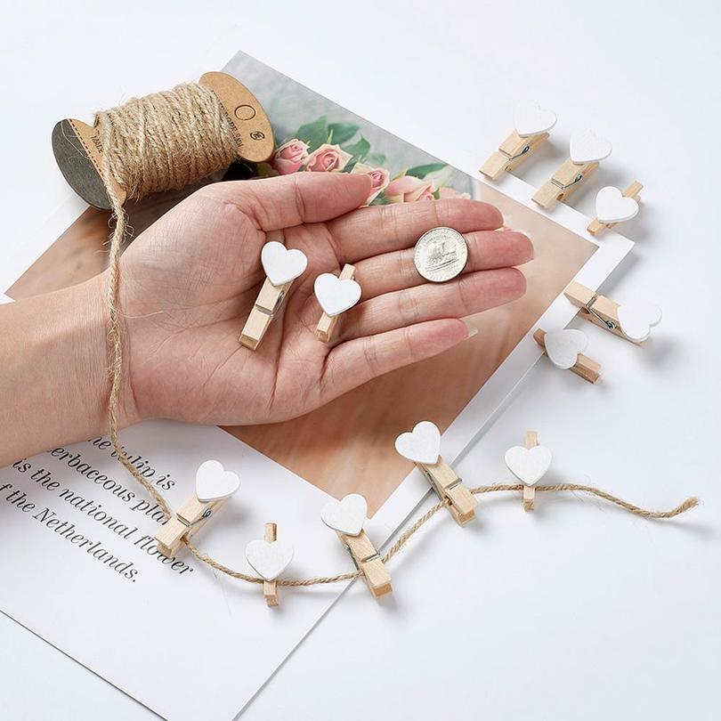 1set Paper Tags Card Label Display With Hemp Cord Rectangle & Heart Blank Wooden Pegs Clips Wedding Party Gifts jllYjn