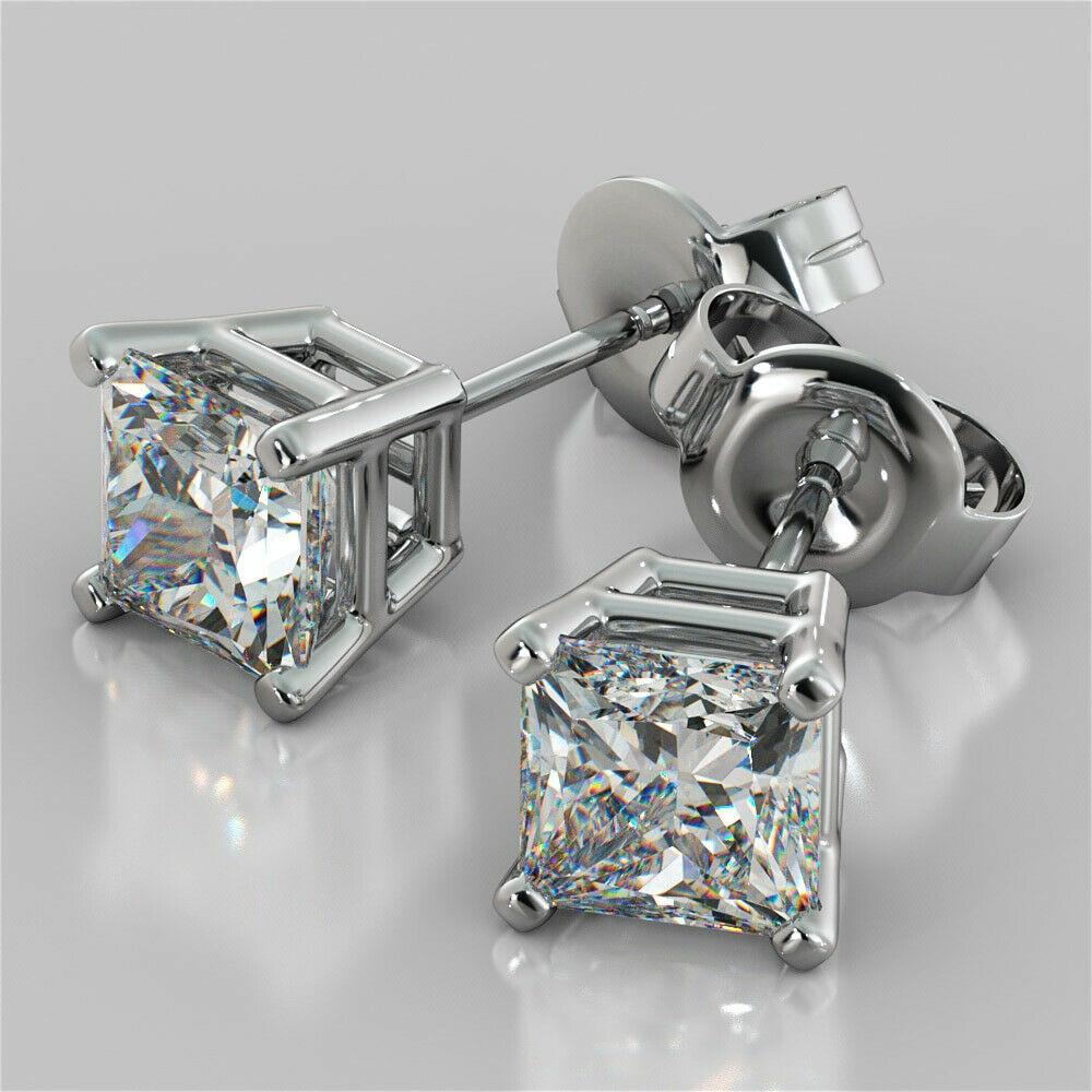 1.32 CT VVS1 Princesa Solitaire Water Diamond Brincos 14k Sólidos Brancos Gold Banhado