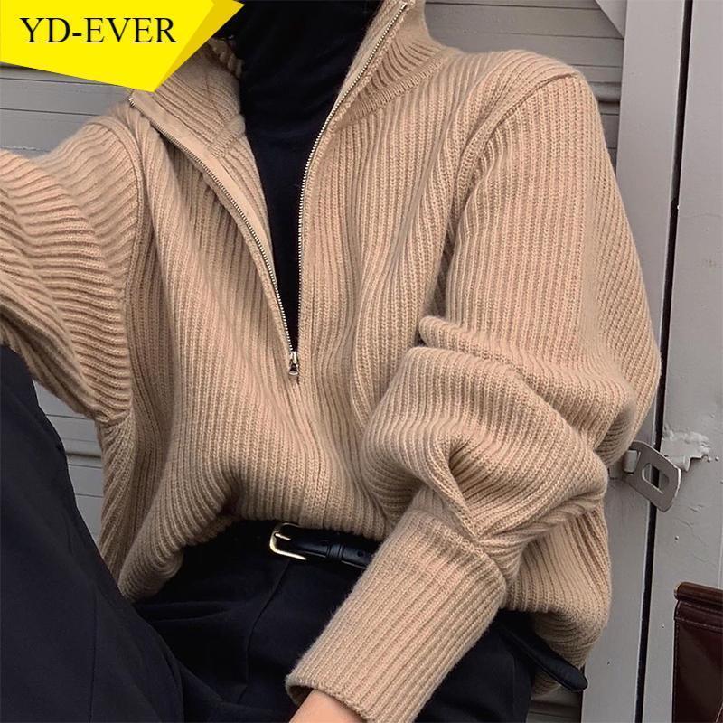 Chic TurtleNeck Zip Selvaggi caldi Autunno Autunno Inverno Moda All-Match Coat Solid Color Semplice Cardigan lavorato a maglia 1G542