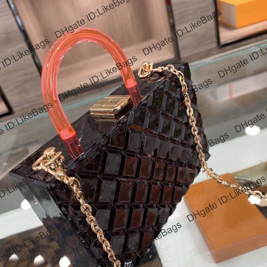 2021 Designer Golden Catena Catena Crossbody Borse Multicolor Acrilico Acrilico Donna Trasparente Borse Trasparenti Borse Designer Borse a tracolla Borse Tote Bags
