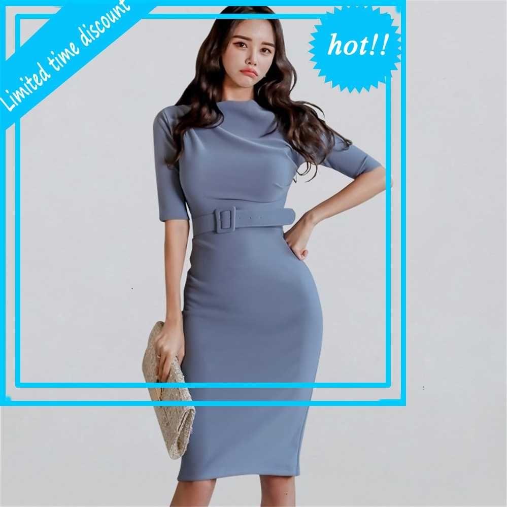 Slash Hals Eleganter sexy Bleistift Kleid Frauen 2020 Frühling Slim Business Mantel Bodycon Kleider Ol Bürokleidung Vestidos
