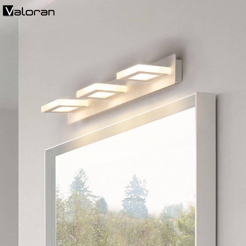 Lâmpadas de parede modernas Banheiro conduziu a luz do espelho rotativo e ajustável AC85-265V SCONces de parede de aço inoxidável
