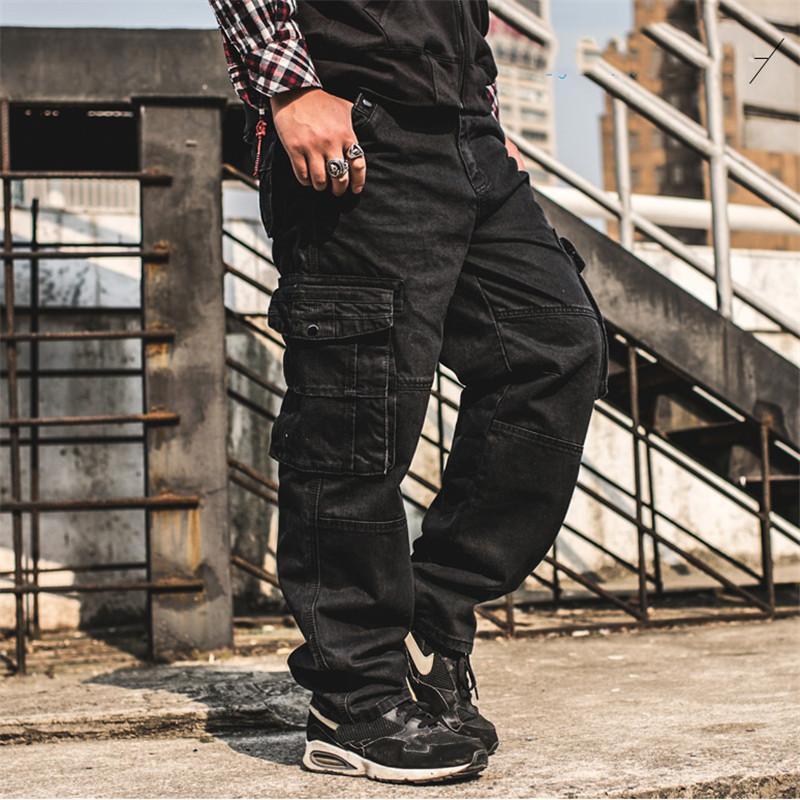 Erkek Baggy Kimsere Hip Hop Kargo Pantolon Gevşek Taktik Kot Pantolon Ile Çok Cepli Kaykay Kot Artı Boyutu C0MB