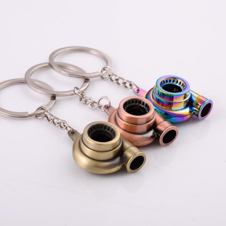 7 Colors Metal Turbo Keychain Sleeve Bearing Spinning Auto Part Model Turbine Turbocharger Key Chain Ring Keyfob Keyring