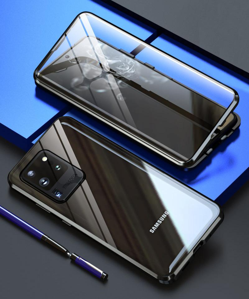 Magnetic Adsorption Glass Case for Samsung s21 S20 Plus S10e S9 S8 Note 10 Pro Note 9 A70 A51 note20 Metal Protective Cover