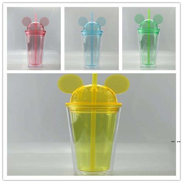 Tumblers de oreja de ratón claro de 16oz con paja 450 ml Orejas de ratón Taza Acrílico Botellas de agua plásticas lindas tazas de niño marítimo envío HWD5093