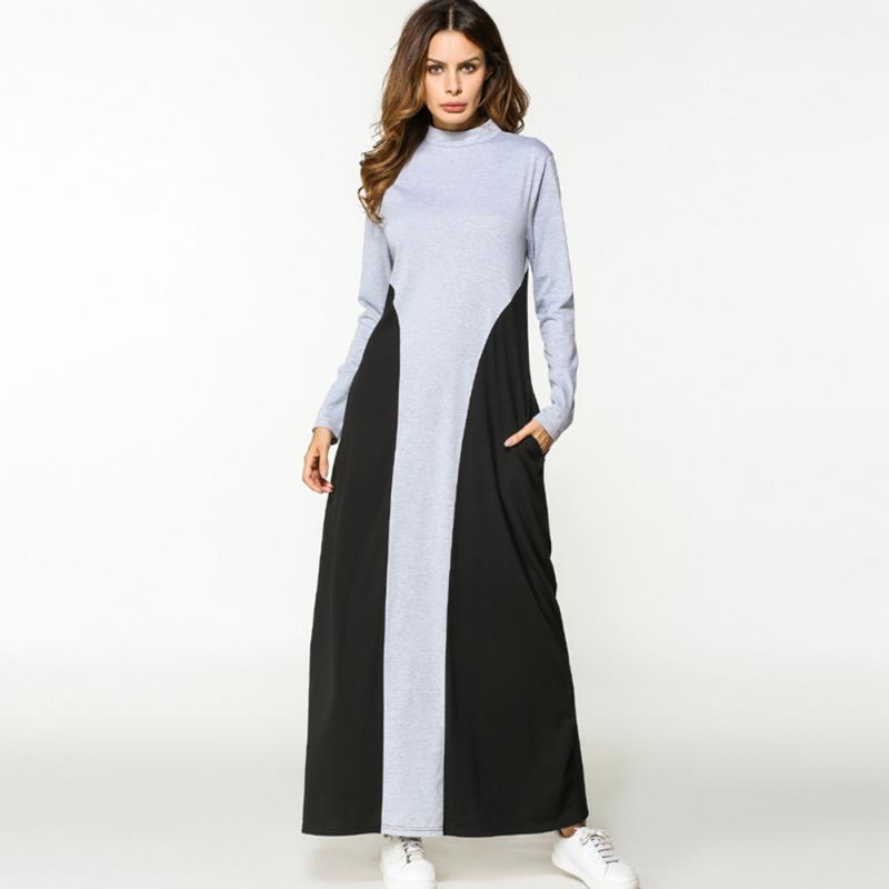 Günlük Elbiseler Bahar Elbise Kadın Müslüman Abaya O Boyun Uzun Partremiz Kol Gevşek Orta Doğu İslam Güzel Satış