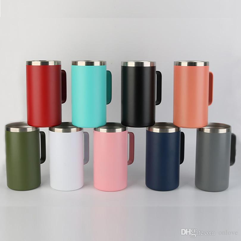 304 الفولاذ المقاوم للصدأ فراغ القدح 20 أوقية مقبض كأس مكتب المحمولة قابلة لإعادة الاستخدام الرجال شرب زجاجة ماء مع أغطية HH21-307