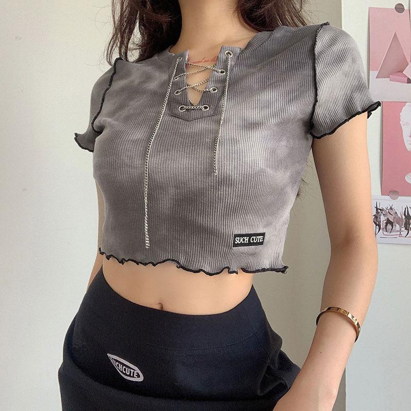 Летний стиль мода футболка 2021 милый с коротким рукавом V-образным вырезом в цепь цепь CELIC CODYCON серая высокая улица женская футболка