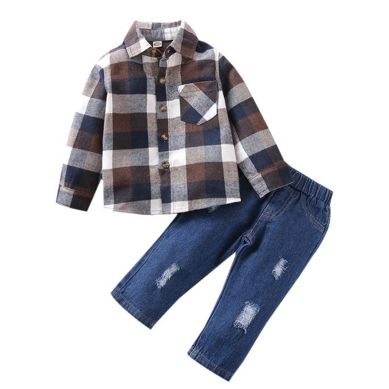 # 50 Toaddle Baby Kids Boys Plaid Checked Shirt Tops + Jeans Ripped Set Outfits Ropa Recién Nacido Infantil Bebé Bebé Conjuntos