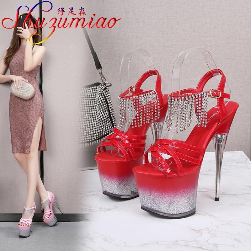 VOesnees 2021 Новые прозрачные женские туфли Bling Thin каблуки патентные кожаные сандалии на платформе скрещенные стриптизер-полюсные танцевальные туфли