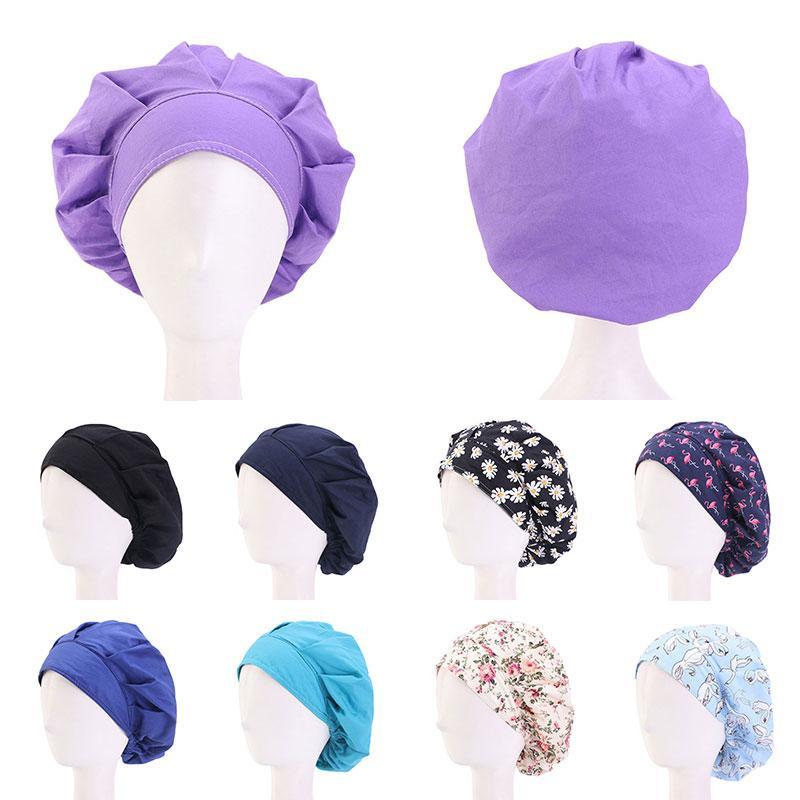 Cotton Hair Care Cap Adjustable Sweatband Bandage Chef Working Caps Women Bouffant Headwear Nurse Hat Hair Accessories Wholesale