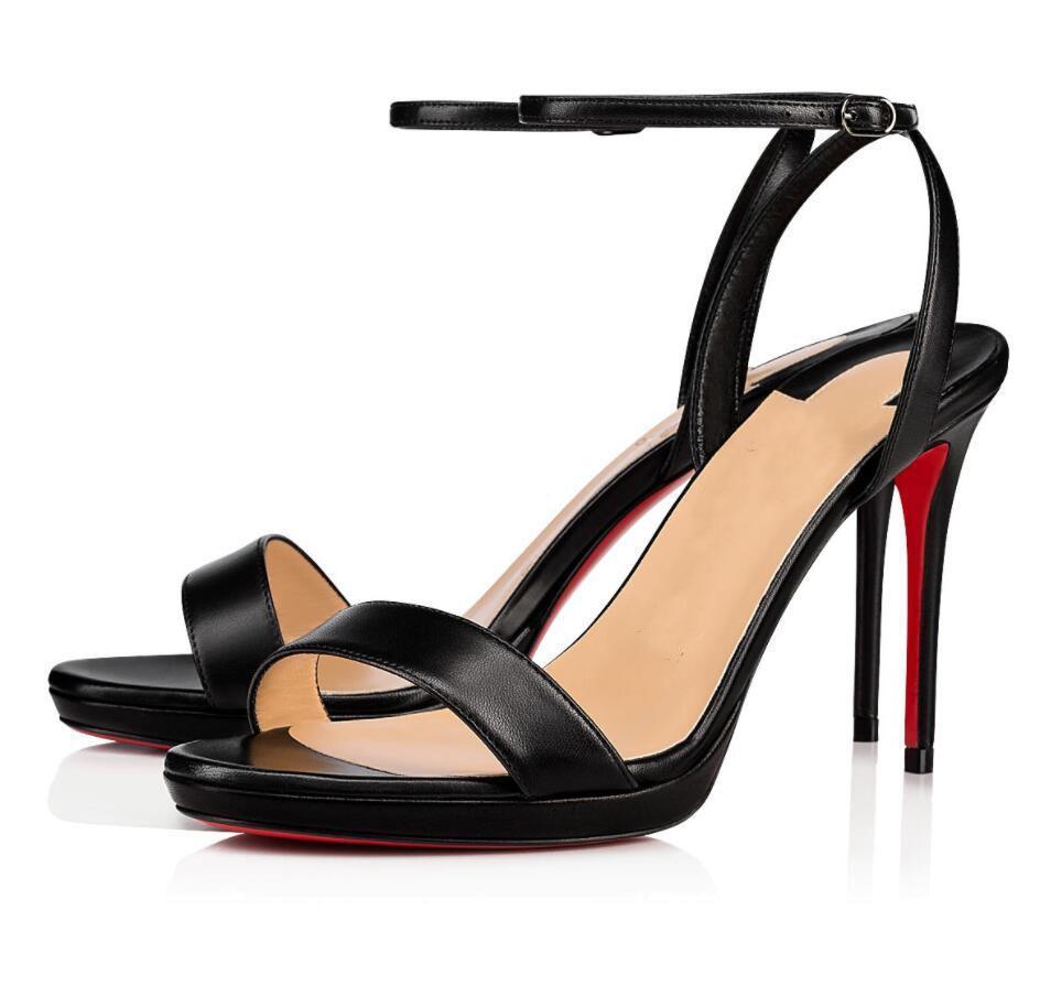 2021 Sandálias das Mulheres Verão Fundo Vermelho Loubi Queen High Saltos Senhora Elegante Designer Cintas Vermelho Sola Sandalias Melhor Presente EU35-43