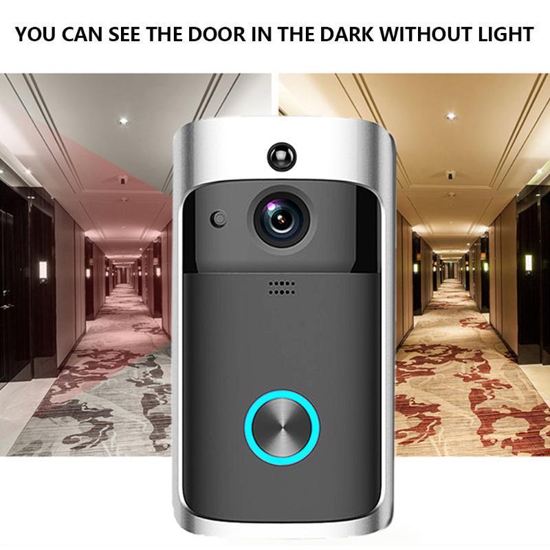 Беспроводное видео Дверное звонок Wi-Fi Видео Белл PIR Обнаружение 2-х полос видео-глаз для апартаментов Дверное колокольчик Кольцо Безопасности Камеры
