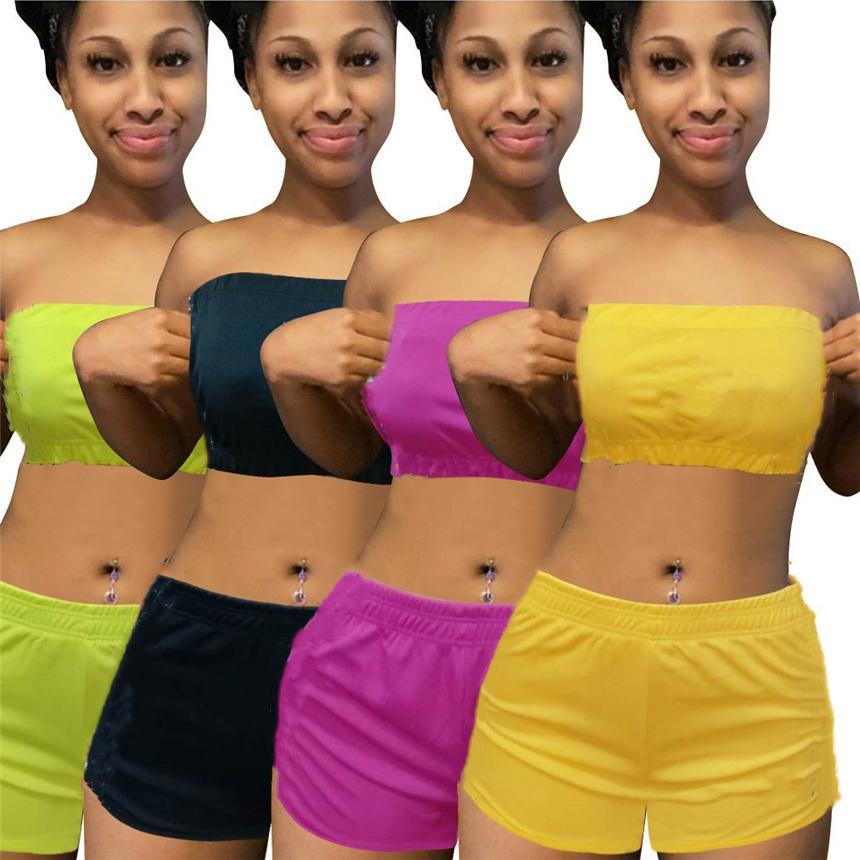 Plus Size Frauen Outfits Solide Farb Trainingsanzug Sexy 2 Stück Sets Sommerkleidung Sleeveless Crop Top + Mini Shorts Sport Jogger Anzug 4521