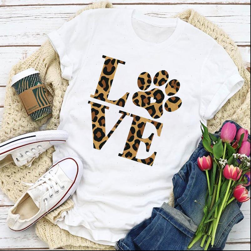 Le donne grafiche Leopard Dog Paw Lettera stampata Moda Summer Shirt T Shirt da donna Abbigliamento Tops Lady Vestiti Tee T Shirt
