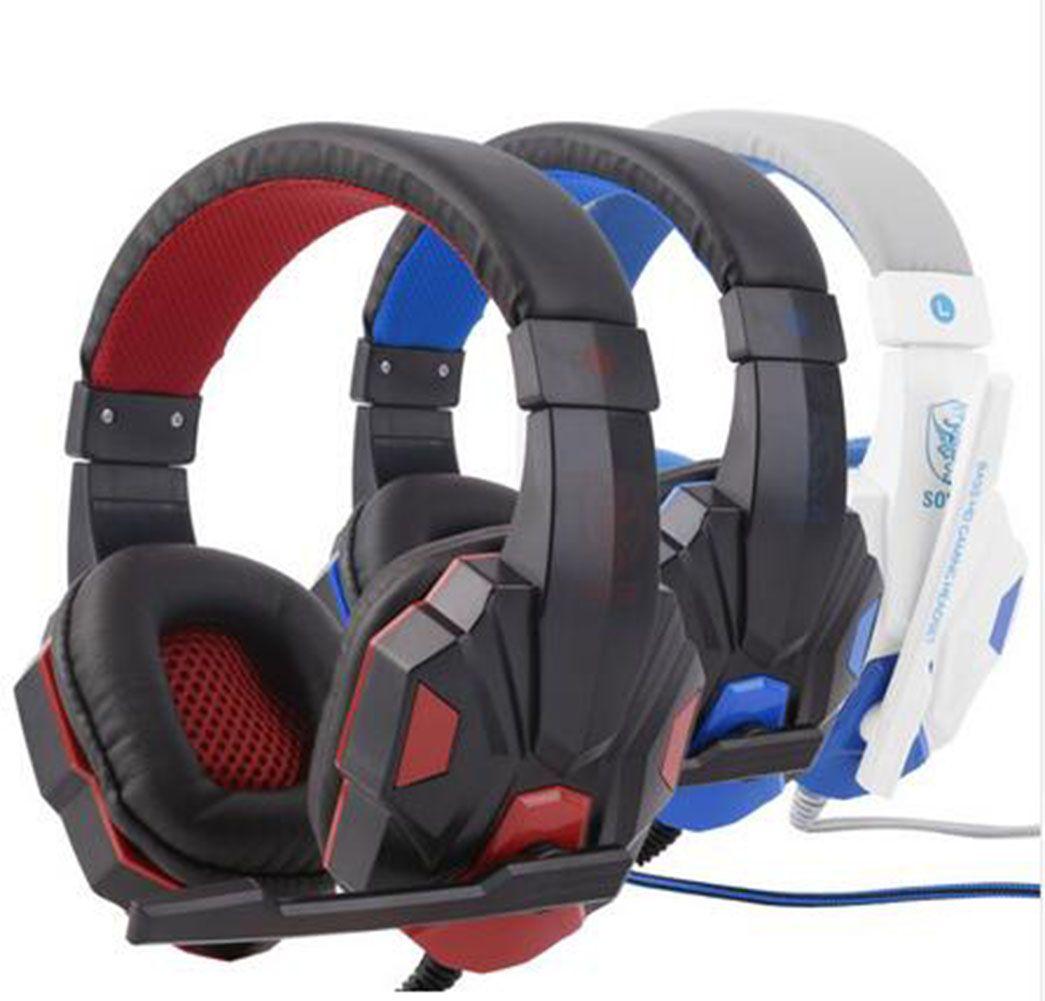 Игра Наушники Stereo Over-Ear Gaming Heaming Heads Headband Наушники с светом для компьютерных ПК Геймер Регулируемая длина петли 3,5 мм