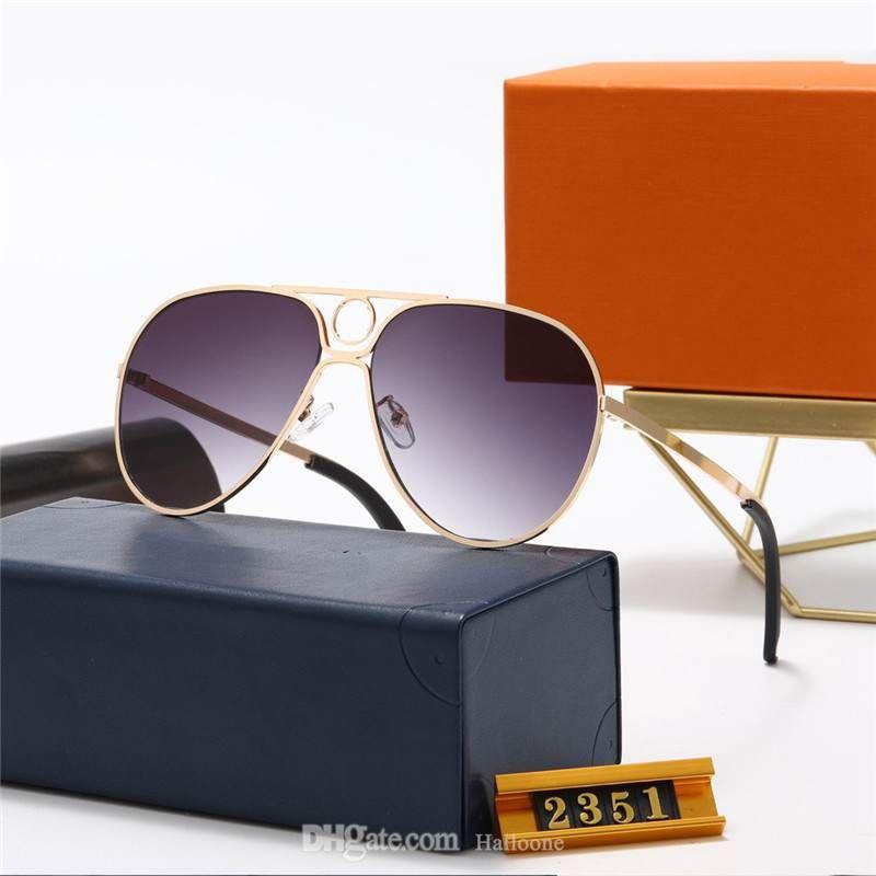 1 stücke Mode Runde Sonnenbrille Brille Sonnenbrille Designer Marke Schwarz Metall Rahmen Dunkel 50mm Glas Linsen für Herren Damen Bessere braune Fälle